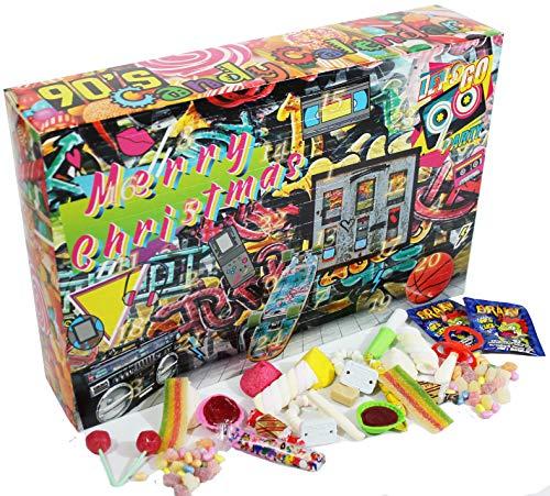 C&T 90er Süßigkeiten Adventskalender 2020   24x Retro Candy der neunziger Jahre   Vintage Nostalgie Weihnachts-Kalender mit Süßigkeiten aus der Kindheit