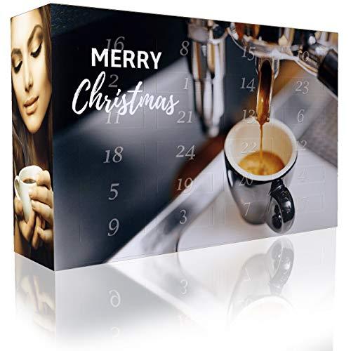 C&T Espresso-Adventskalender mit 2 x 12 vielfältigen Sorten Spitzen-Espressobohnen (Gemahlener Kaffee) für anspruchsvolle Heim-Barista - Weihnachts-Kalender für Erwachsene - Geschenkset Probier-Set