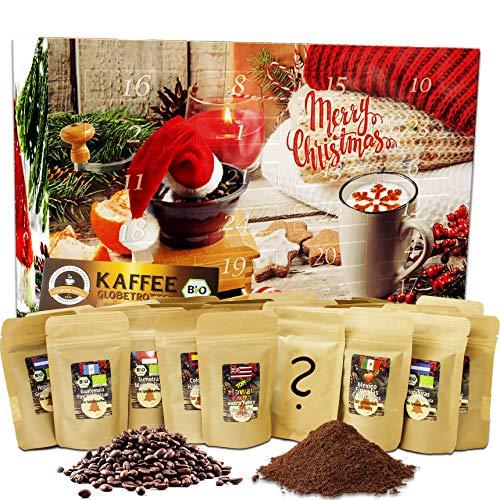 """C&T Kaffee-Adventskalender """"Bio/Fair"""" (Gemahlen) 2020 mit 24 Biologischen, Raritäten- und Fair gehandelten Kaffees für Nespresso®-Maschinen   Kompostierbare Öko-Kapseln"""