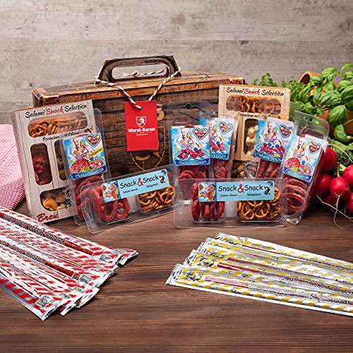 WURSTBARON® - Wurst Geschenk Koffer - mit 24 besondere Salami und Wurst Snacks - Brezen, Herzen, Sterne, Pikanten und vieles mehr - 790 g