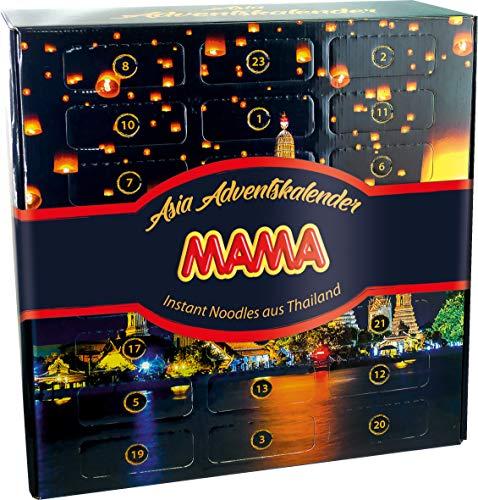 MAMA Adventskalender mit Instant Nudeln aus Thailand, Weihnachtskalender mit festlichem Motiv, lecker und dekorativ, Ideal zum Verschenken (1 x 1240g)