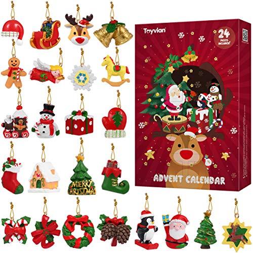 Toyvian Weihnachts-Adventskalender, 24 verschiedene Miniatur-Weihnachtsfiguren aus Kunstharz, Überraschungen, Weihnachtsbaum-Ornament, Urlaubsdekoration