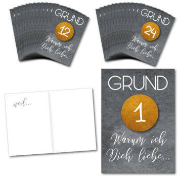 DIY Advent Calendar/24 folding cards with stickers numbers of 1-24 in gold/for coupons or love proofs