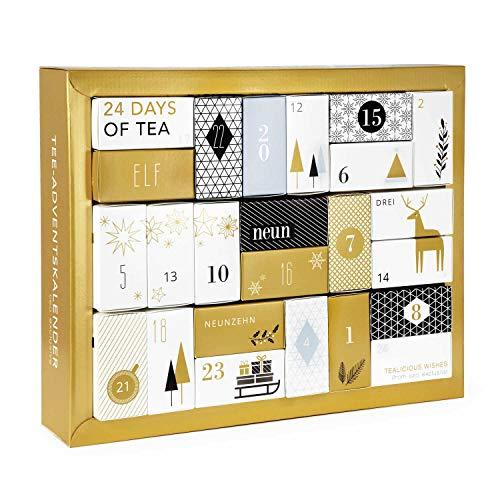 """Erlebnis Tee Adventskalender """"Gold Edition"""" - Design Adventskalender mit 24 Premium losen Tees und vielen weiteren Überraschungen 286 g"""