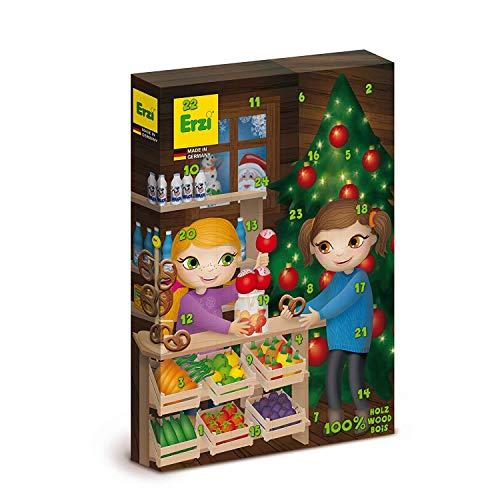 Erzi Hochwertiger Adventskalender mit 24 typischen Überraschungen aus Holz bestehen aus 28 verschiedenen Kaufladenartikeln