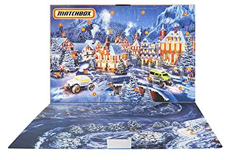 Matchbox GXH01 - Adventskalender mit 24 Überraschungen, darunter 10 Fahrzeuge im Maßstab 1:64 mit authentischen Details und Weihnachtsdeko, ab 3 Jahren – detail 1