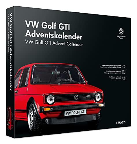 Franzis 55102-3 Adventskalender VW Golf GTI in rot, Fahrzeugbausatz im Maßstab 1:43, inkl. Soundmodul und Begleitbuch, ab 14 Jahre, bunt