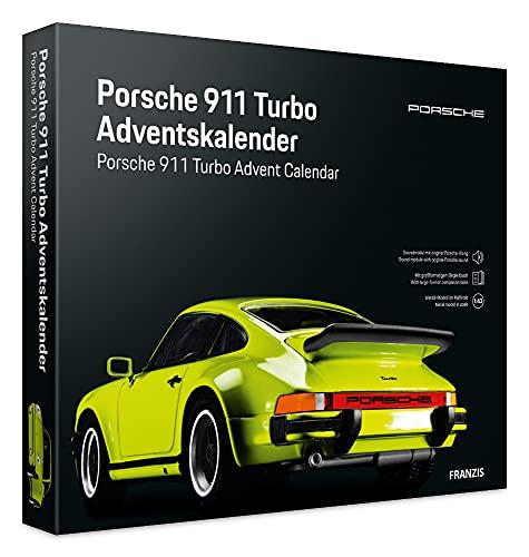 Franzis 55109-2 Adventskalender Porsche 911 Turbo hellgrün, Fahrzeugbausatz im Maßstab 1:43, inkl. Soundmodul und Begleitbuch, ab 14 Jahre, bunt