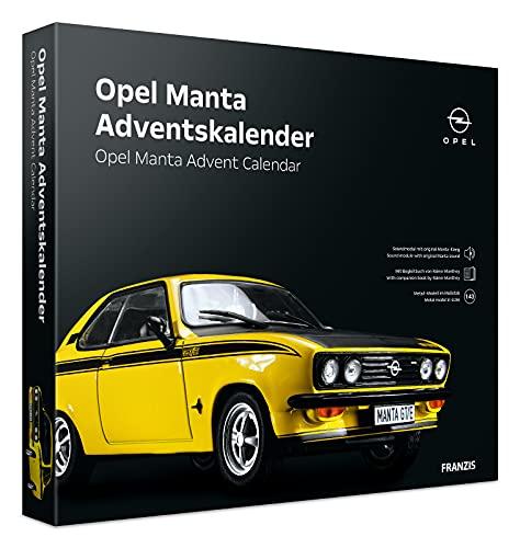 Franzis 55145-0 Adventskalender Opel Manta in gelb, Fahrzeugbausatz im Maßstab 1:43, inkl. Soundmodul und Begleitbuch, ab 14 Jahre, bunt
