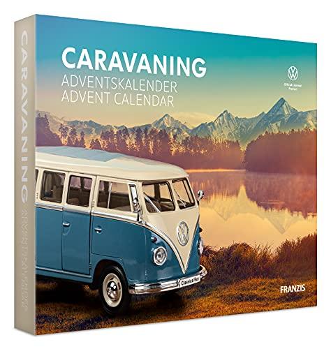 Franzis 55115-3 Adventskalender Caravaning VW Bulli T1, Fahrzeugbausatz im Maßstab 1:24, inkl. Soundmodul und Begleitbuch, ab 14 Jahre, bunt