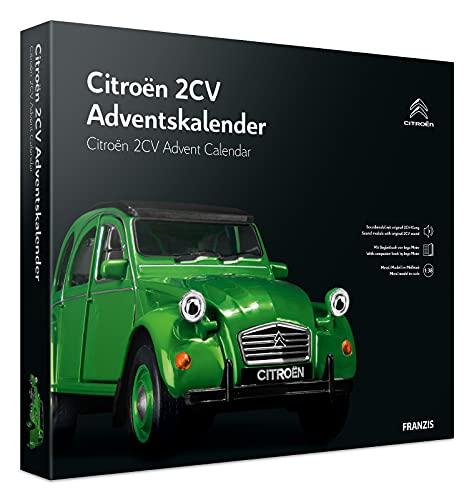 Franzis 55154-2 Adventskalender Citroen 2 CV (Ente) in grün, Fahrzeugbausatz im Maßstab 1:38, inkl. Soundmodul und Begleitbuch, ab 14 Jahre, bunt