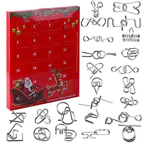 Gettmax 24 Stück Knobelspiele Adventskalender, Metall Knobelspiele IQ Spiele Puzzle 3D Geduldspiele Denkspiel Brainteaser Puzzle für Kinder und Erwachsene