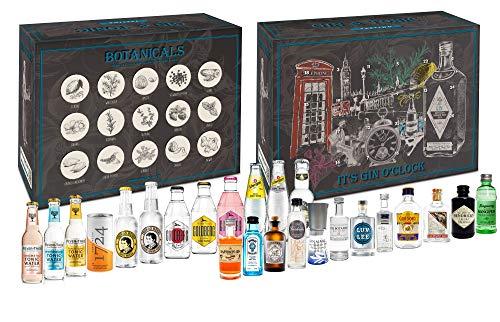 Gin Tonic Tasting Set Adventskalender Probierset - 12x Verschiedene Gin Sorten + 12x Verschiedene Tonic Sorten + Exklusive Mixcompany Tasting Box - NEU
