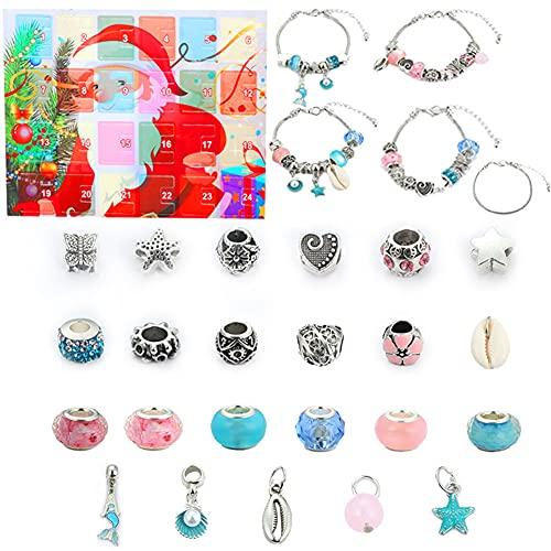 Herbests Weihnachts Adventskalender DIY Geschenk Armbänder-Set Kinder Mädchen Selber Machen Schmuckherstellung Bastel Kit mit Geschenkbox 24 Überraschungen Modeaccessoires Perlen für Weihnachten