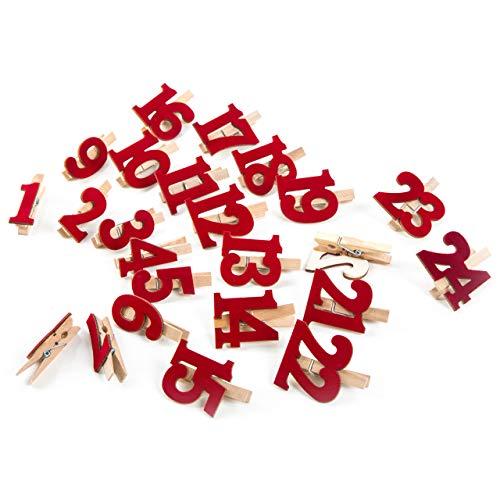 Holzklammern mit roten Zahlen aus Filz