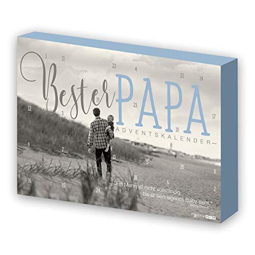 itenga Adventskalender Bester Papa für Männer modernes Design grau blau Strand gefüllt mit 24 Überraschungen für den Mann