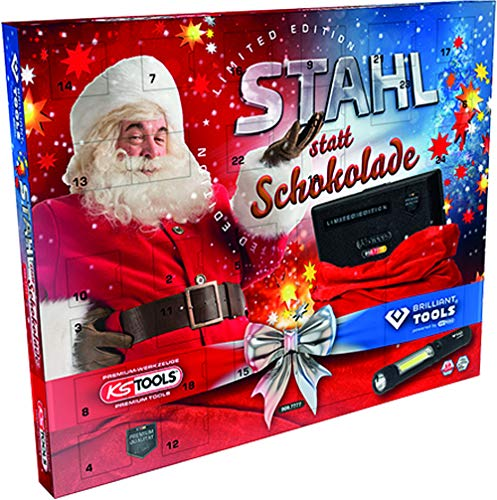 KS Tools 999.7777 Adventskalender >Stahl statt Schokolade< Limited Edition 2020, bestehend Steckschlüssel-Satz 48-TLG. und Brilliant Tools LED Stift-Lampe (140 Lumen)