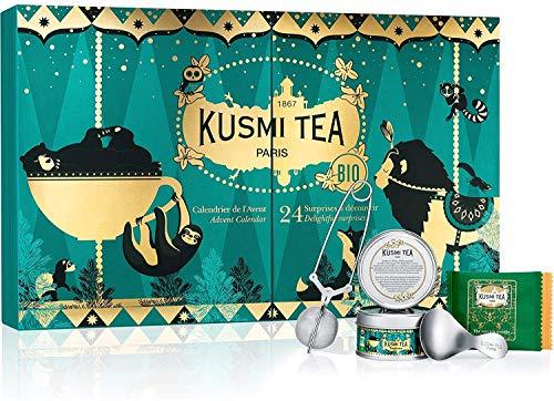 Kusmi Tea - Adventskalender mit 2 Mini Teedose und 20 Teebeuteln (grüne Tees, schwarze Tees, aromatisierte Kräutertees) sowie einer Teezange und einem TeemessLlöffel