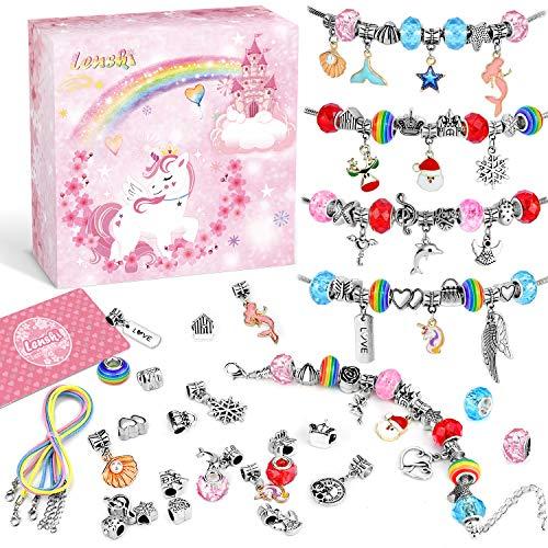 Lenski Geschenke für Mädchen - Charm Armband Kit DIY, Schmuck Bastelset Mädchen Adventskalender Mädchen 2020 Adventskalender zum Befüllen, Kinder Geschenke Weihnachten Mädchen Geschenke 4-12 jahre