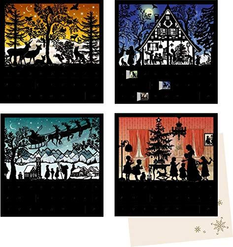 Mini-Adventskalender-Sortiment - Stille Nacht: 4 Motive x 6 Ex.