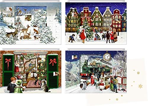 Mini-Adventskalender-Sortiment - Zauberhafte Weihnachtszeit: 3D-Lentikular-Karten zum Aufstellen 4 Motive x 6 Ex.