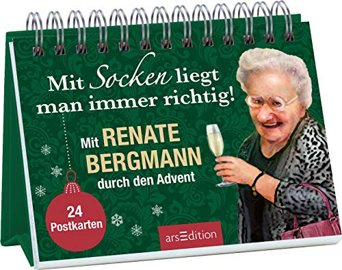 Mit Socken liegt man immer richtig! Mit Renate Bergmann durch den Advent. 24 Postkarten. (Adventskalender)