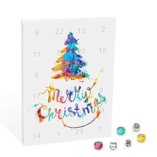VALIOSA Merry Christmas Mode-Schmuck Adventskalender mit Halskette, Armband + 22 individuelle Perlen-Anhänger aus Glas & Metall, Geschenkidee für Mädchen, bunt, 24-teilig (1 Set)
