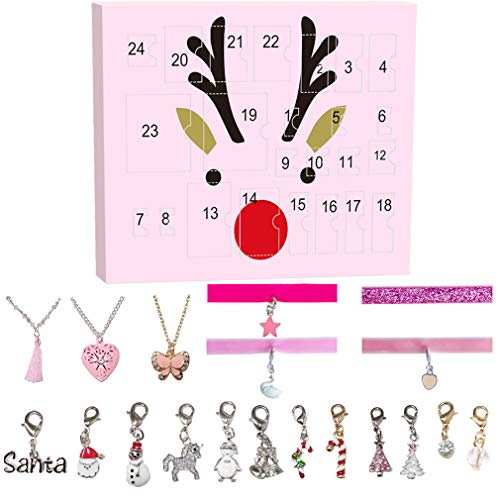 Mouttop Christmas Advent Calendar – Distinctive Outlook – 24 Christmas Charms – 12 Metal Charms, 5 Choker Necklace, 3 Long Necklace & 2 Sets of Bracelet with Choker – Multipurpose and Reusable