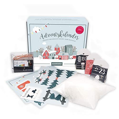 naschlabor DIY Weihnachtsdorf   Adventskalender 2020 mit 24 Häuschen   Zum Basteln inkl. Lichterkette, Figuren und Schnee
