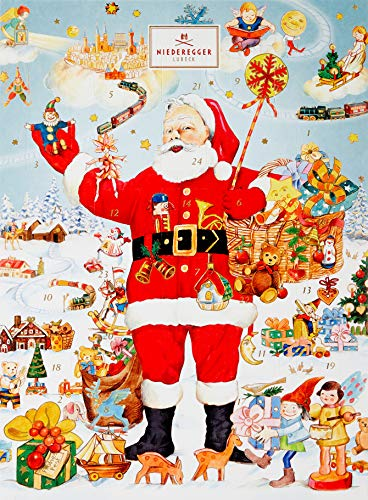 Niederegger Adventskalender Weihnachtsmann, nostalgisches Design, gefüllt mit Niederegger Marzipan, 1er Pack (1 x 500 g)