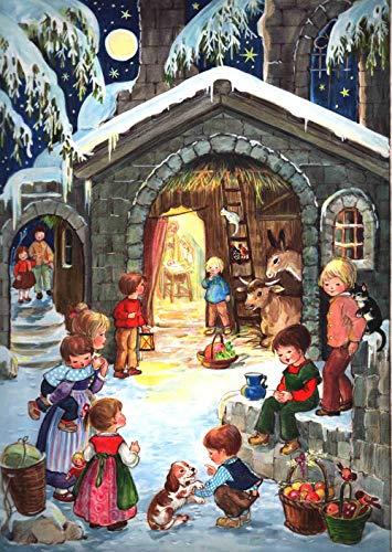 """Nostalgischer Adventskalender / Weihnachtskalender für Kinder und Erwachsene mit Bildern und Glimmer """"Am Stall"""""""