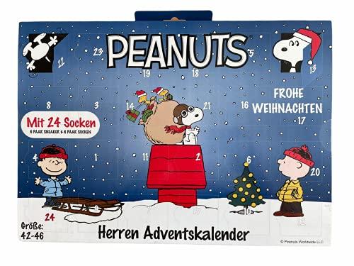 daniplus Peanuts Herren / Männer Adventskalender mit 24 Socken Gr. 42-46, je 6 Paar Socken und Sneakersocken