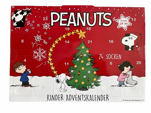 daniplus Peanuts Kinder Adventskalender mit 24 Socken Gr. 29-34, je 6 Paar Socken und Sneakersocken