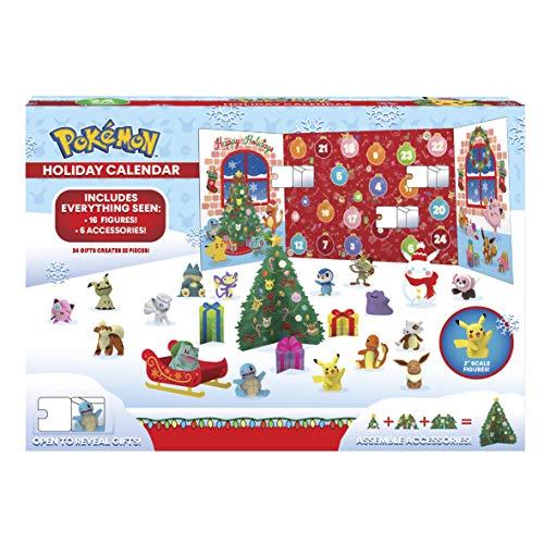 PoKéMoN Figuren Adventskalender 2020 - Enthält 16 Battle Figuren (5cm) & 8 Weihnachtszubehören - Offiziell lizensiert & Authentische Details