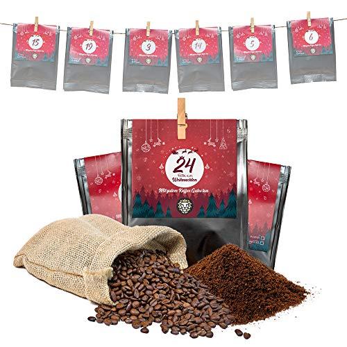 Premium Kaffee Adventskalender 2020 - Mit Liebe geröstet von Menschen mit Behinderung   Kaffee Geschenk für Männer und Frauen   bio & fair   24 x 30 g Kaffeebohnen im Weihnachtskalender
