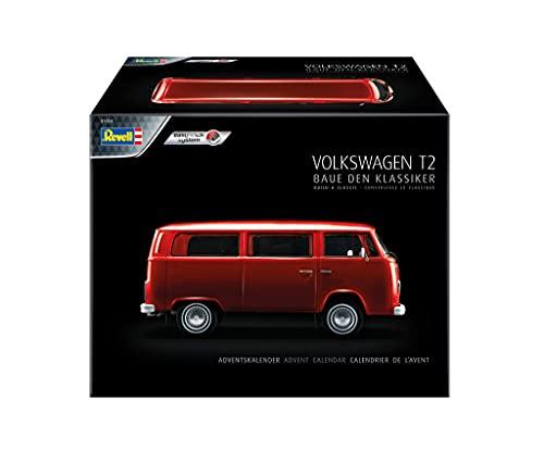 Revell 1034 Adventskalender Volkswagen VW T2 Bus, der Kult Bulli mit dem Easy-Click-System Zubehör, Rot variant