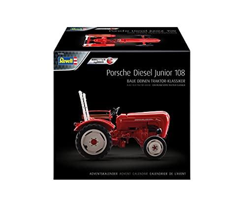 Revell 1036 Adventskalender Porsche Junior 108 Oldtimer Traktor mit dem Easy-Click-System Zubehör, Rot variant