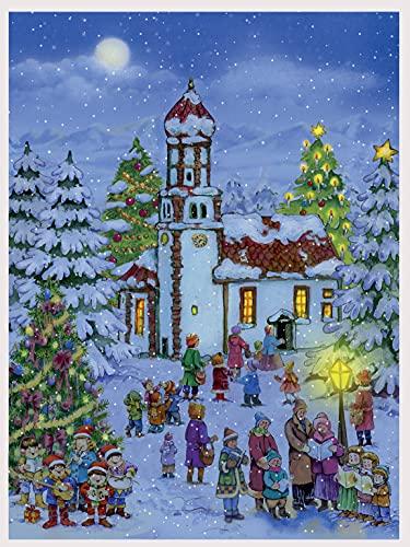 Richard Sellmer Verlag Papier Adventskalender für Erwachsene und Kinder mit Glitzer und Bildern Weihnachtskapelle