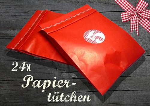 24 rote Tütchen für DIY-Adventskalender