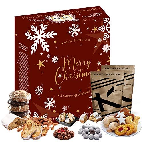 Weihnachts-Adventskalender 2020 I Weihnachtskalender mit weihnachtlichen Produkte I 24 köstliche Leckerein für die Adventszeit I Leckerein Geschenkbox I Countdown bis Weihnachten