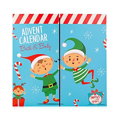 Accentra Adventskalender Santa & Co. 2021 für Mädchen und Jungen mit 24 Bade-, Körperpflege und Accessoires Produkten, 750 g