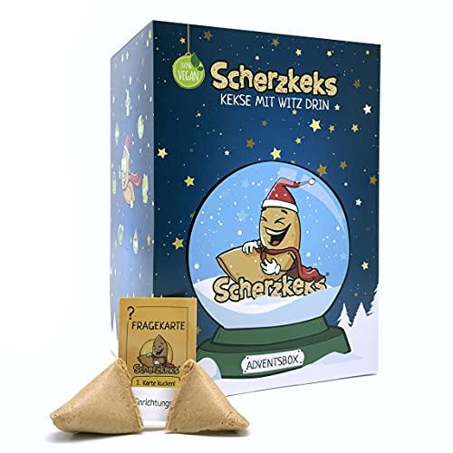Scherzkeks® - Premium Adventskalender 2021 | 24 Glückskekse im Weihnachtskalender der besonderen Art | Jeden Tag einen Lacher | Geschenk Glückskeks Kekse Großpackung Erwachsene