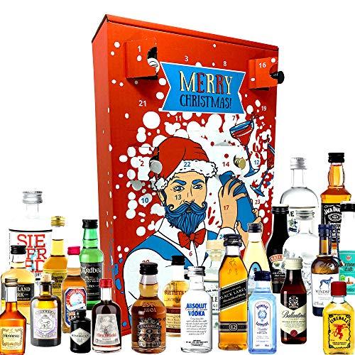 Schnaps Adventskalender 2020 mit 24 Premium Spirituosen von erstklassigen Marken in Miniatur-Flaschen