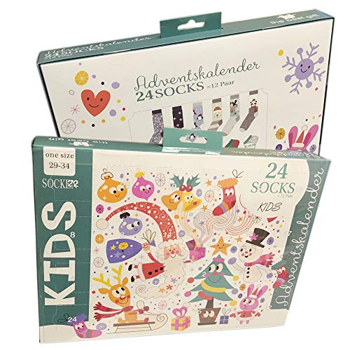 Sockswear Socken Adventskalender Kinder : 29-34 Mehrfarbig Größe 29-34, Farbe Mehrfarbig