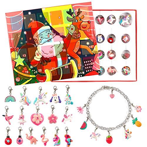 vamei Adventskalender Mädchen Weinachtskalender Kinder Schmuck Armband DIY Halskette Weihnachten Geschenk Mädchen für Damen Mädchen (Inklusive Armband und Halskette) (A)