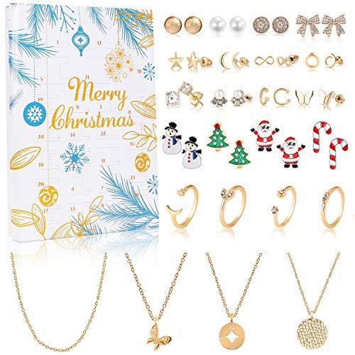 vamei Adventskalender Mädchen Adventskalender 2020 Weinachtskalender Damen Schmuck Ohrringe Ohrstecker Halskette Ringe Weihnachten Geschenk für Damen Mädchen