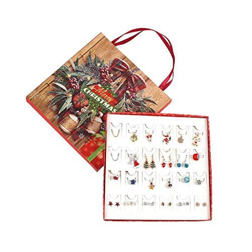 Weihnachts Adventskalender, Weihnachtsohr Ohrstecker Ohrring Dangle Hook Drop Halskette Countdown